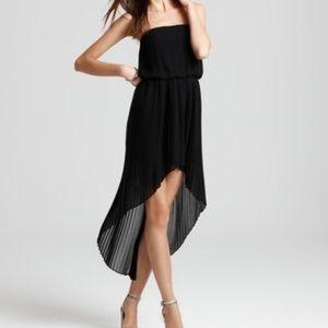BCBGeneration Black Strapless Pleated Hi Low Dress